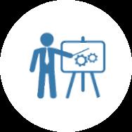 Illustration d'une personne lors d'une réunion.