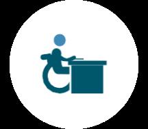 Une icône d'une personne en situation d'handicap.