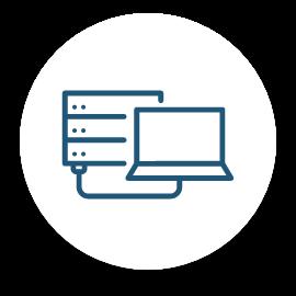 Une icône représentant un ordinateur relié à des serveurs.