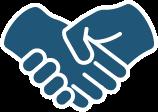 Illustration de mains pour symboliser l'écoute et la satisfaction.