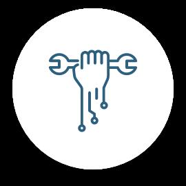 Une icône d'une main avec une clé à molette.