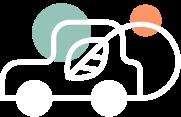 Illustration d'une voiture éco-responsable pour représenter : Nos actions environnementales.