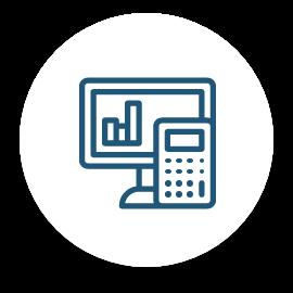Une icône d'un écran d'ordinateur et d'une calculatrice.