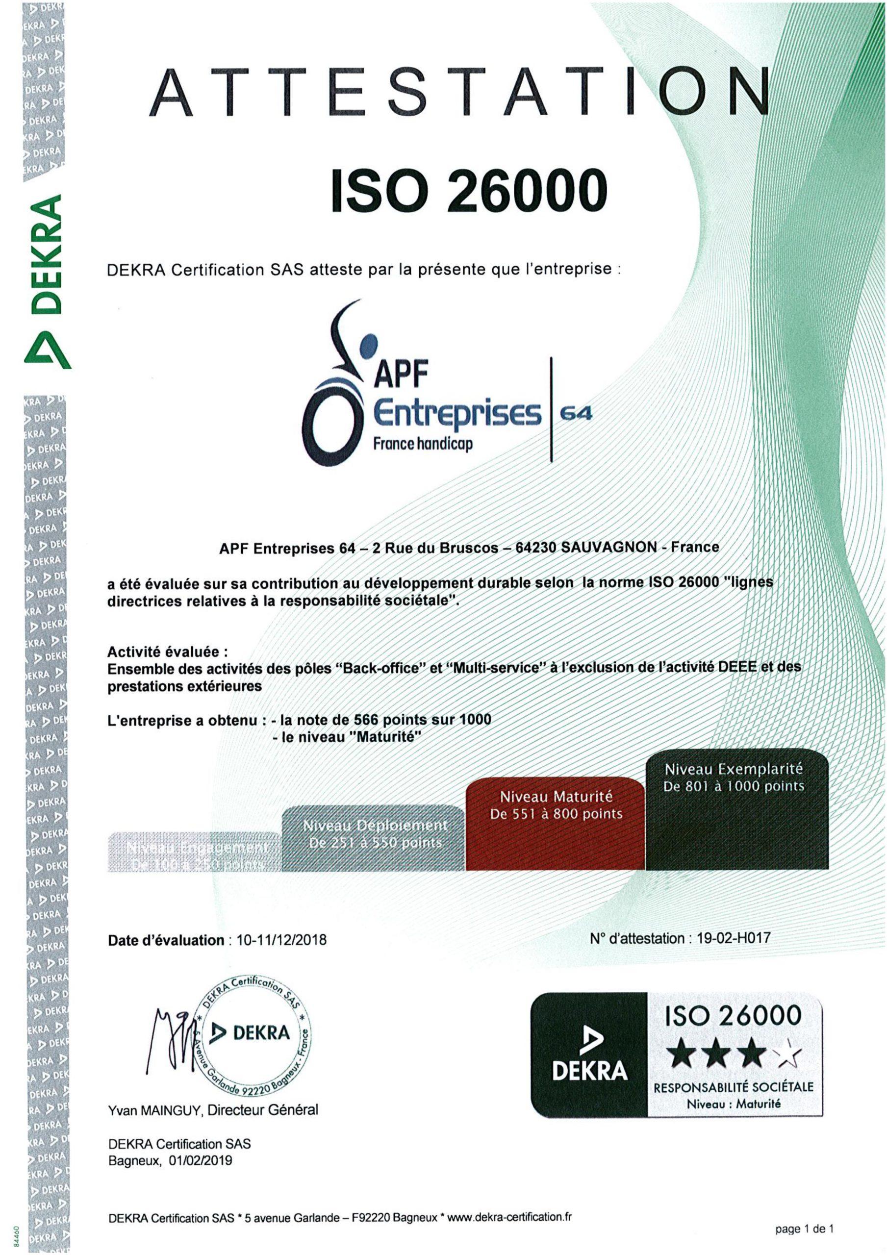 L'attestation ISO 26000.