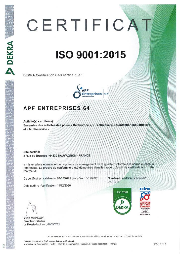 L'attestation Attestation ISO 9001.